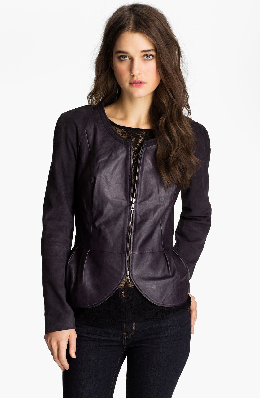 Alternate Image 1 Selected - Hinge® Leather & Suede Peplum Jacket