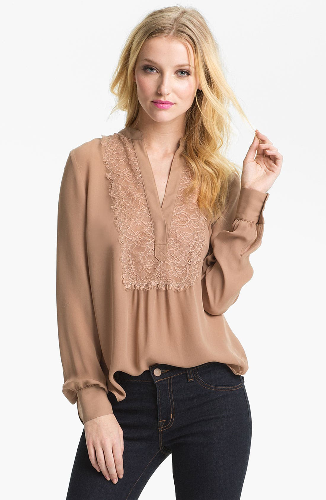Alternate Image 1 Selected - Haute Hippie Lace Trim Blouse