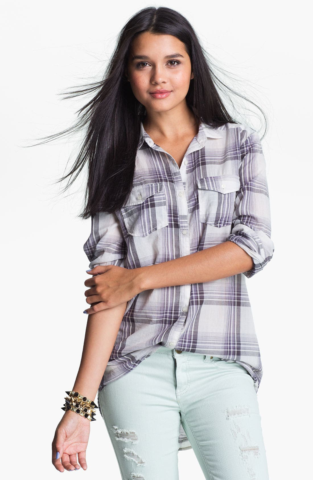 Main Image - Rubbish® Plaid Tunic Shirt (Juniors)