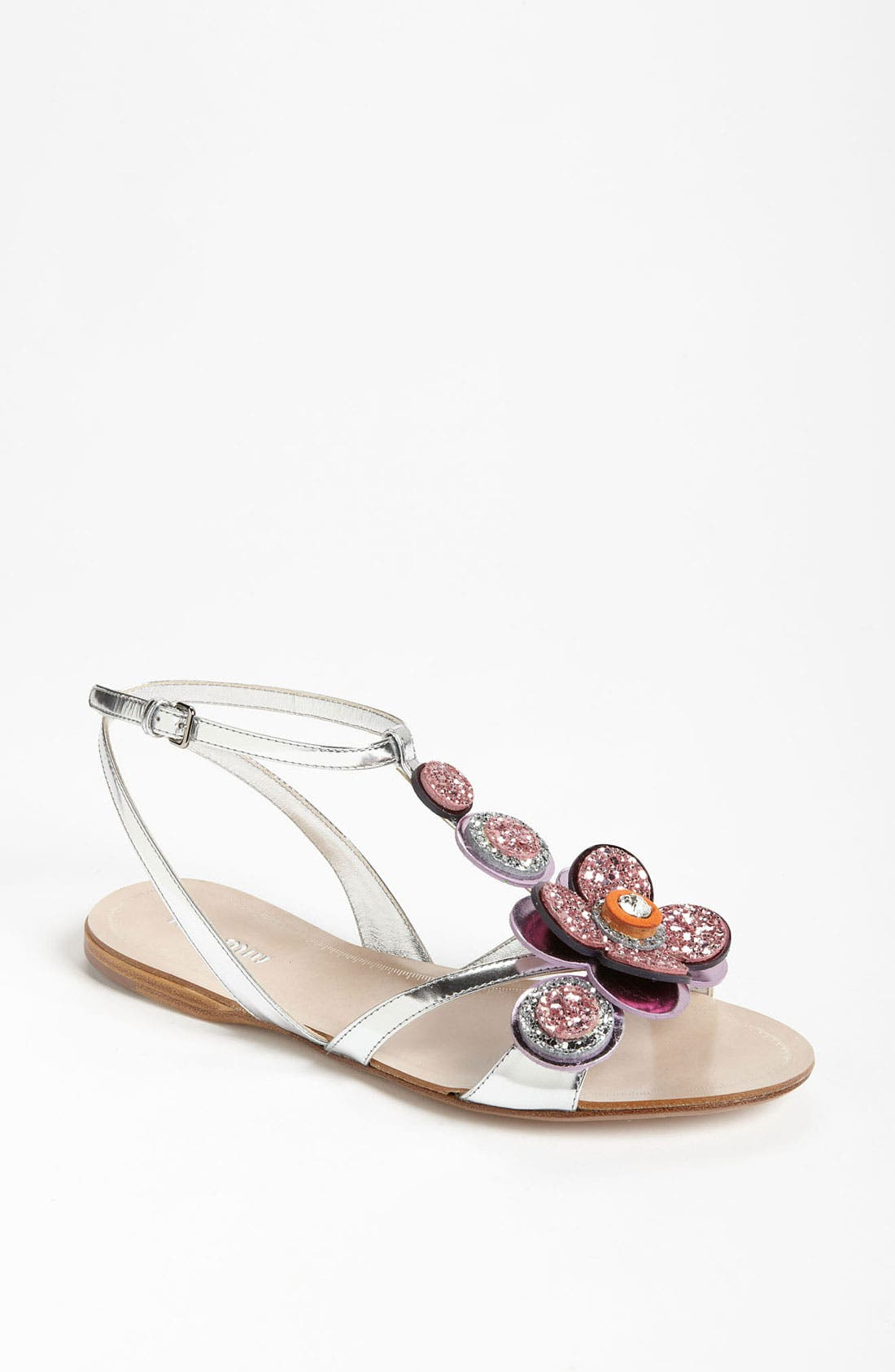 Alternate Image 1 Selected - Miu Miu T-Strap Flower Sandal