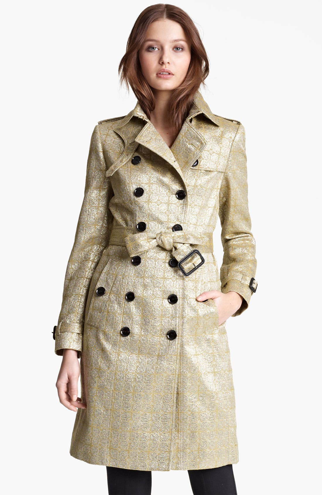 Alternate Image 2  - Burberry London Belted Metallic Jacquard Trench Coat