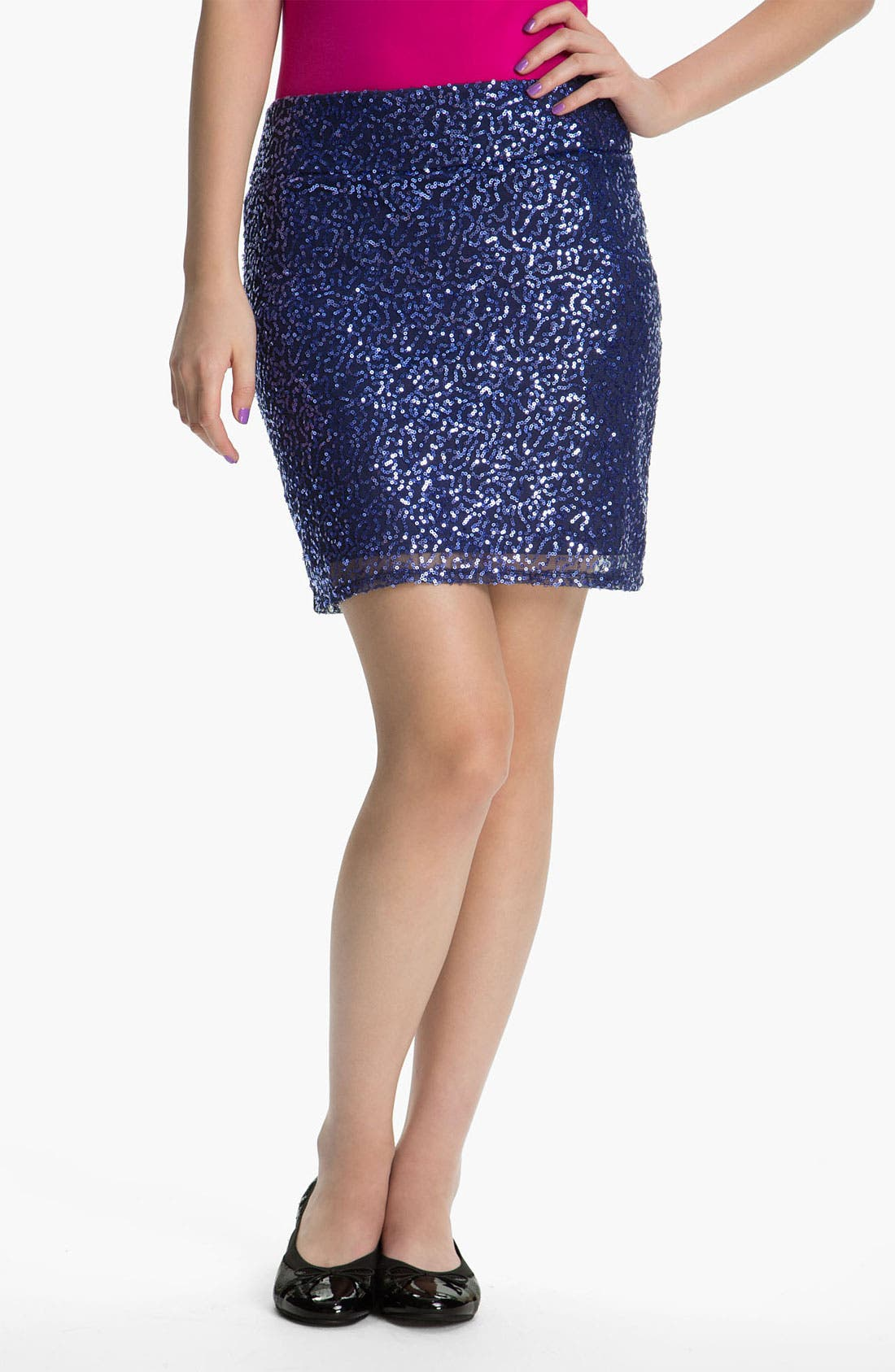Alternate Image 1 Selected - Mimi Chica Sequin Skirt (Juniors)