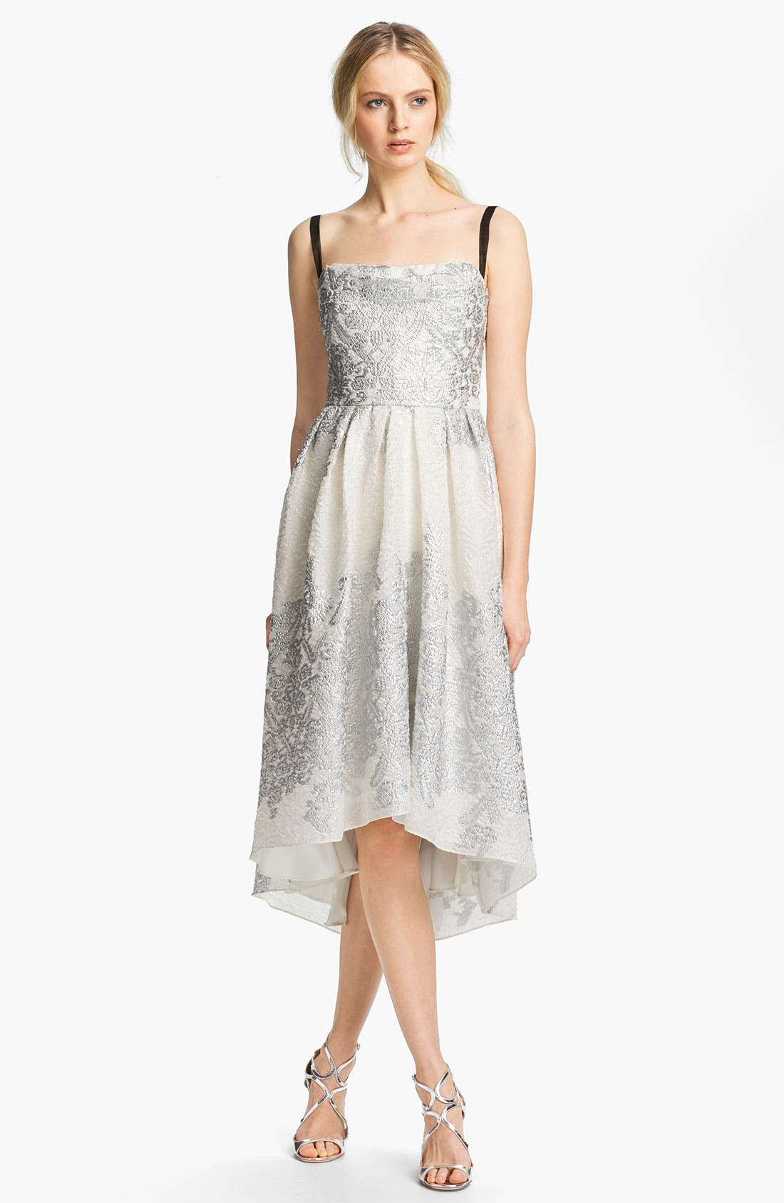 Alternate Image 1 Selected - Lela Rose Short Brocade Gown