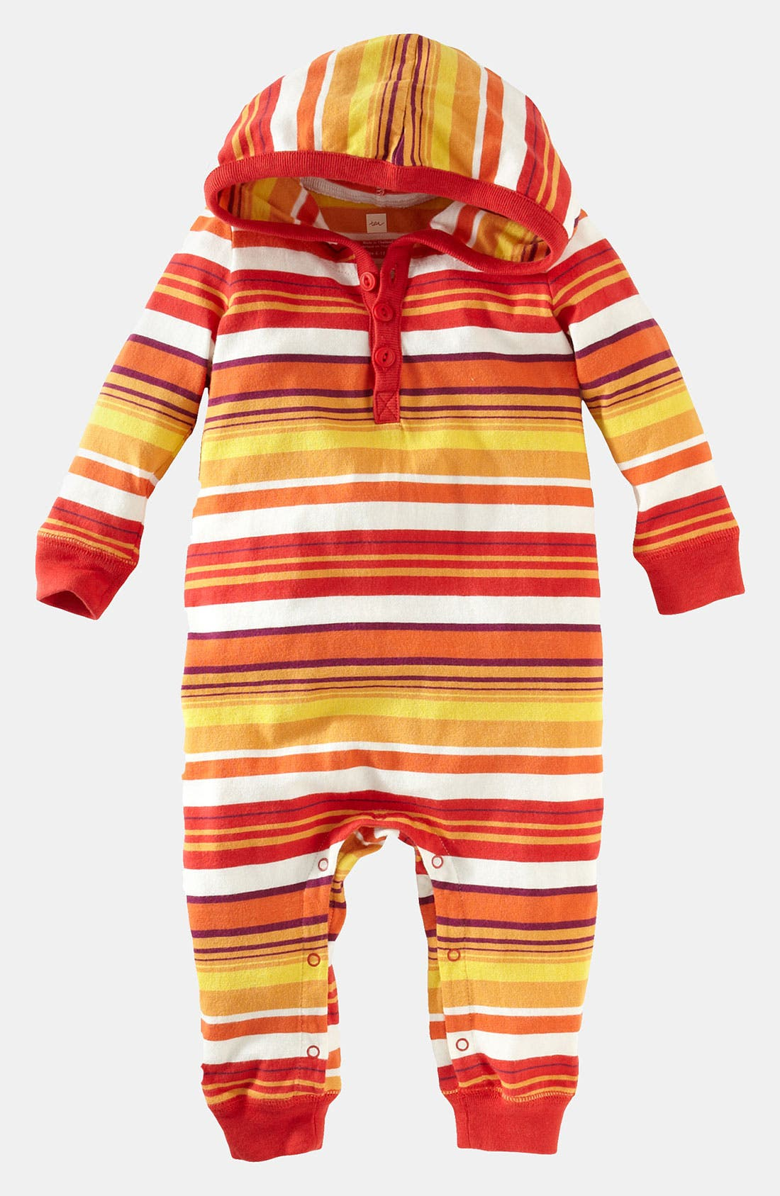 Alternate Image 1 Selected - Tea Collection 'Stripe Happy' Hooded Romper (Infant)