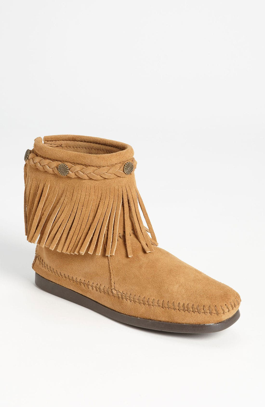 Fringed Moccasin Bootie,                         Main,                         color, Taupe