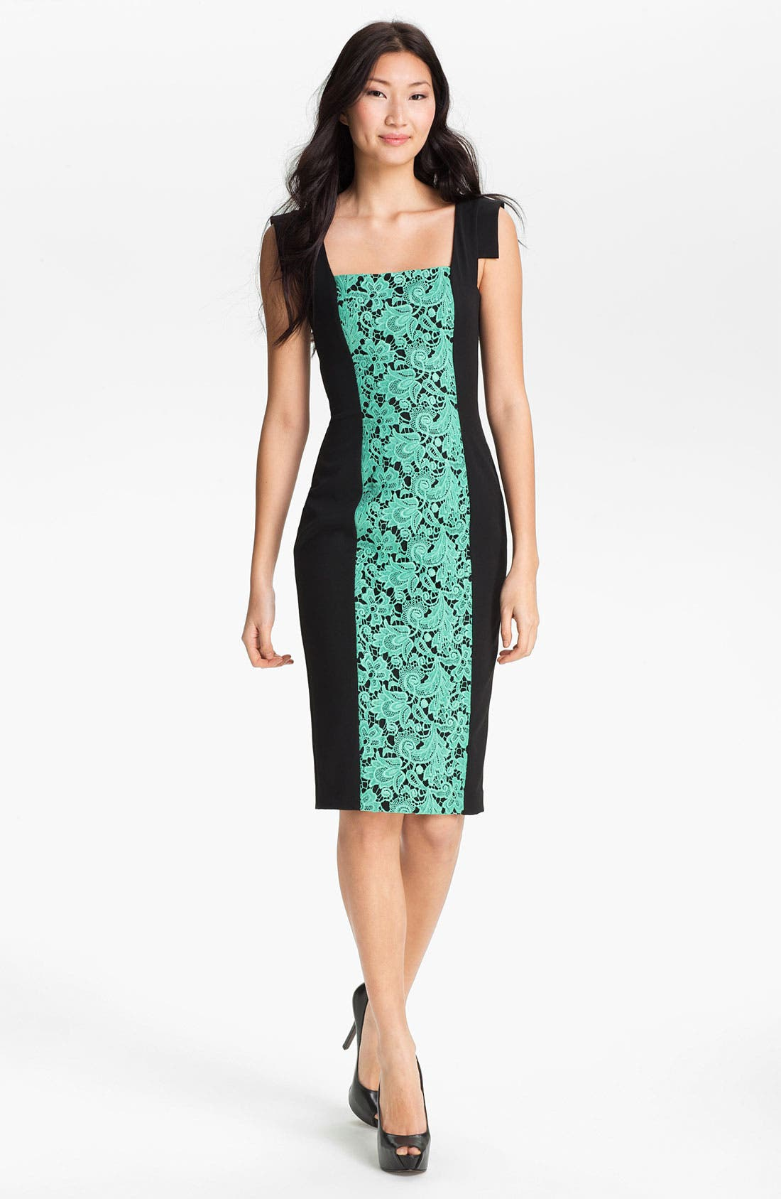 Alternate Image 1 Selected - Black Halo 'Francisca' Lace Panel Contoured Dress