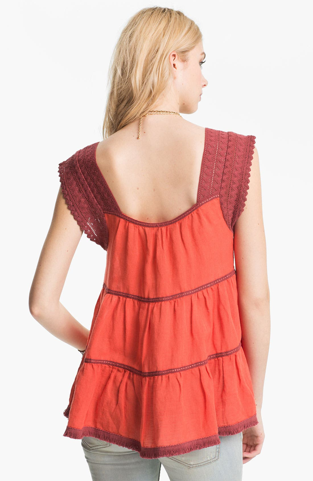 Alternate Image 2  - Free People 'Rainforest' Crochet Yoke Top