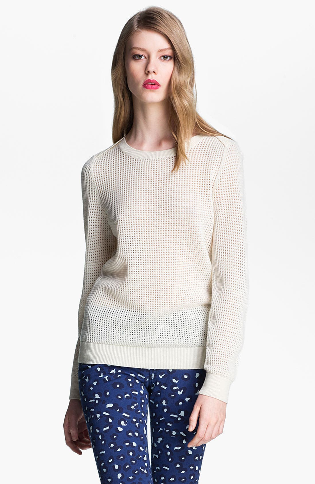 Perforated Wool Sweater,                         Main,                         color, Ecru