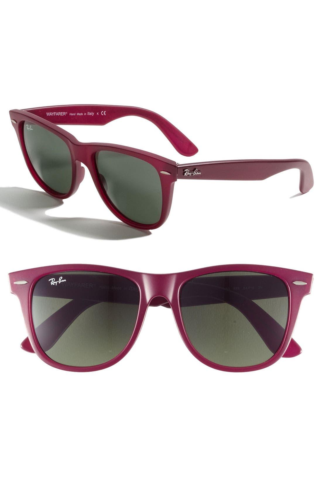 Large Classic Wayfarer 54mm Sunglasses,                             Main thumbnail 1, color,                             Matte Red/ Green