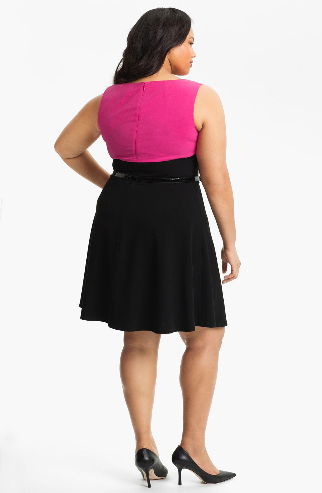 Alternate Image 2  - Calvin Klein Colorblock Fit & Flare Dress (Plus Size)