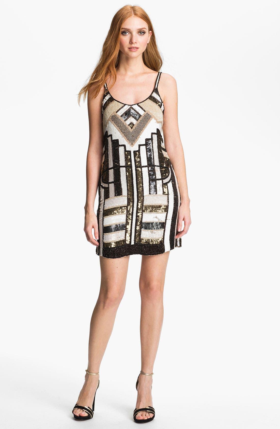 Main Image - Parker 'Haden' Embellished Silk Shift Dress