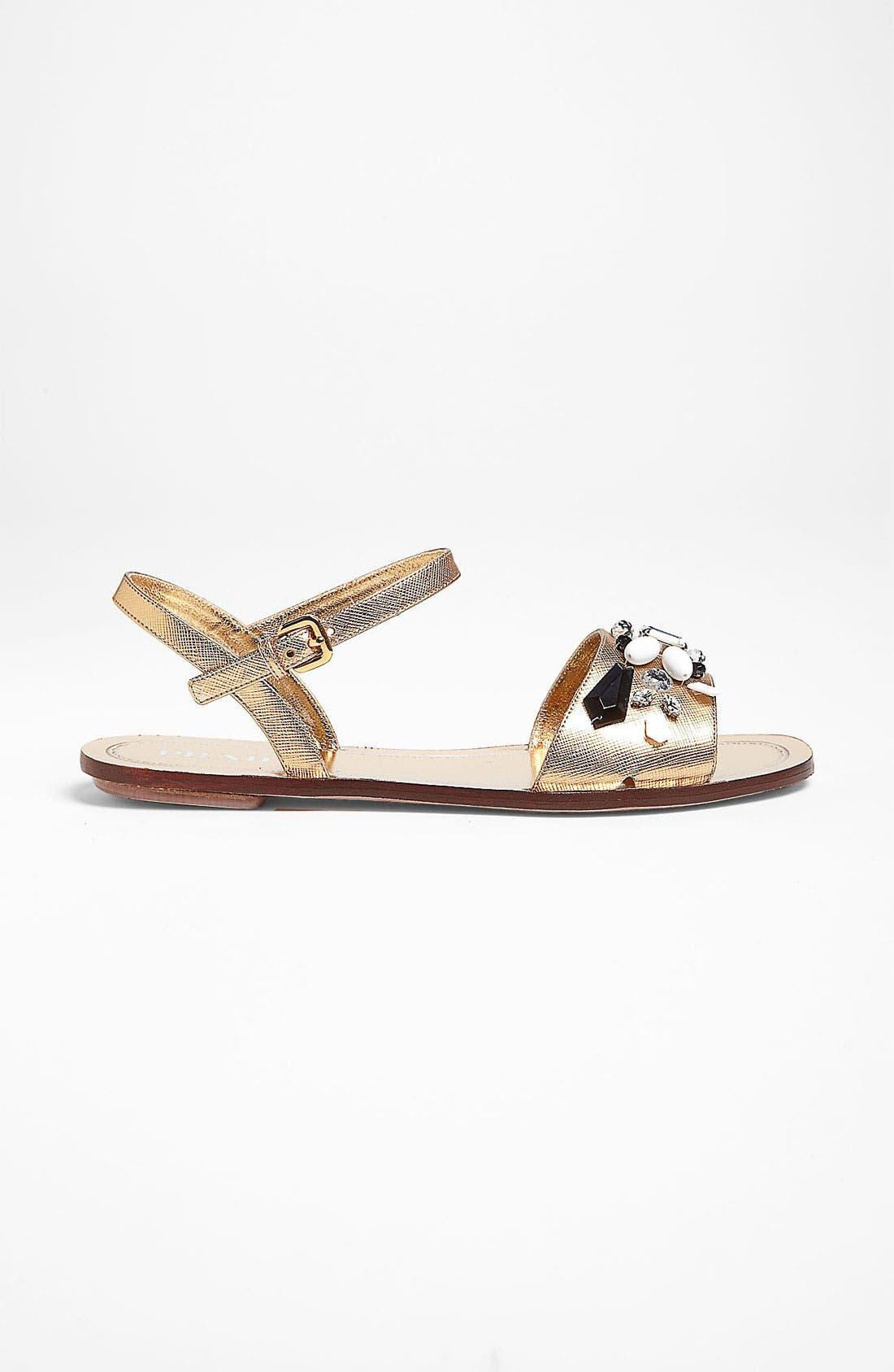 Alternate Image 4  - Prada Beaded Strap Flat Sandal