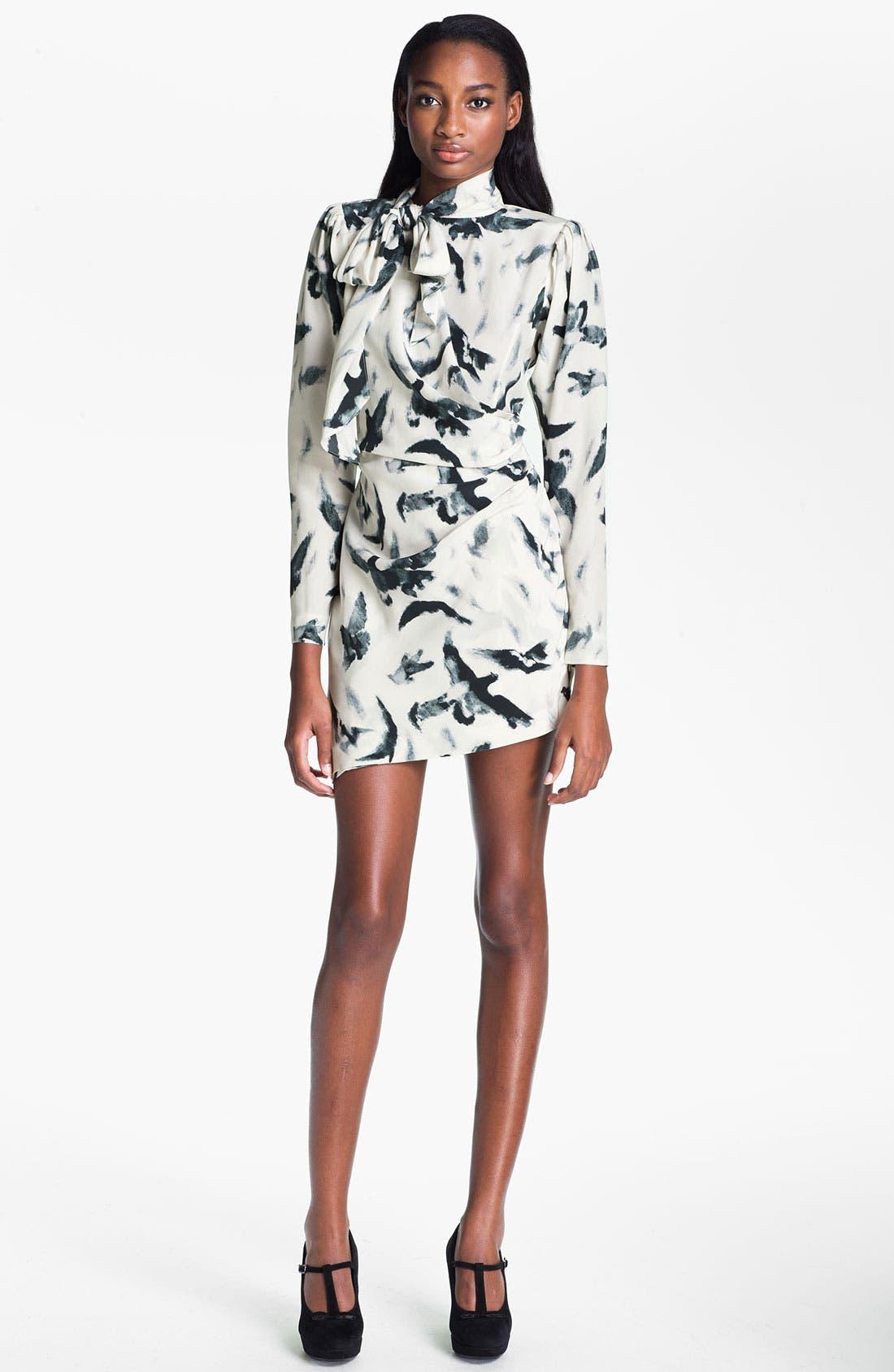 Alternate Image 1 Selected - Skaist-Taylor 'Tippi' Print Asymmetrical Hem Silk Dress