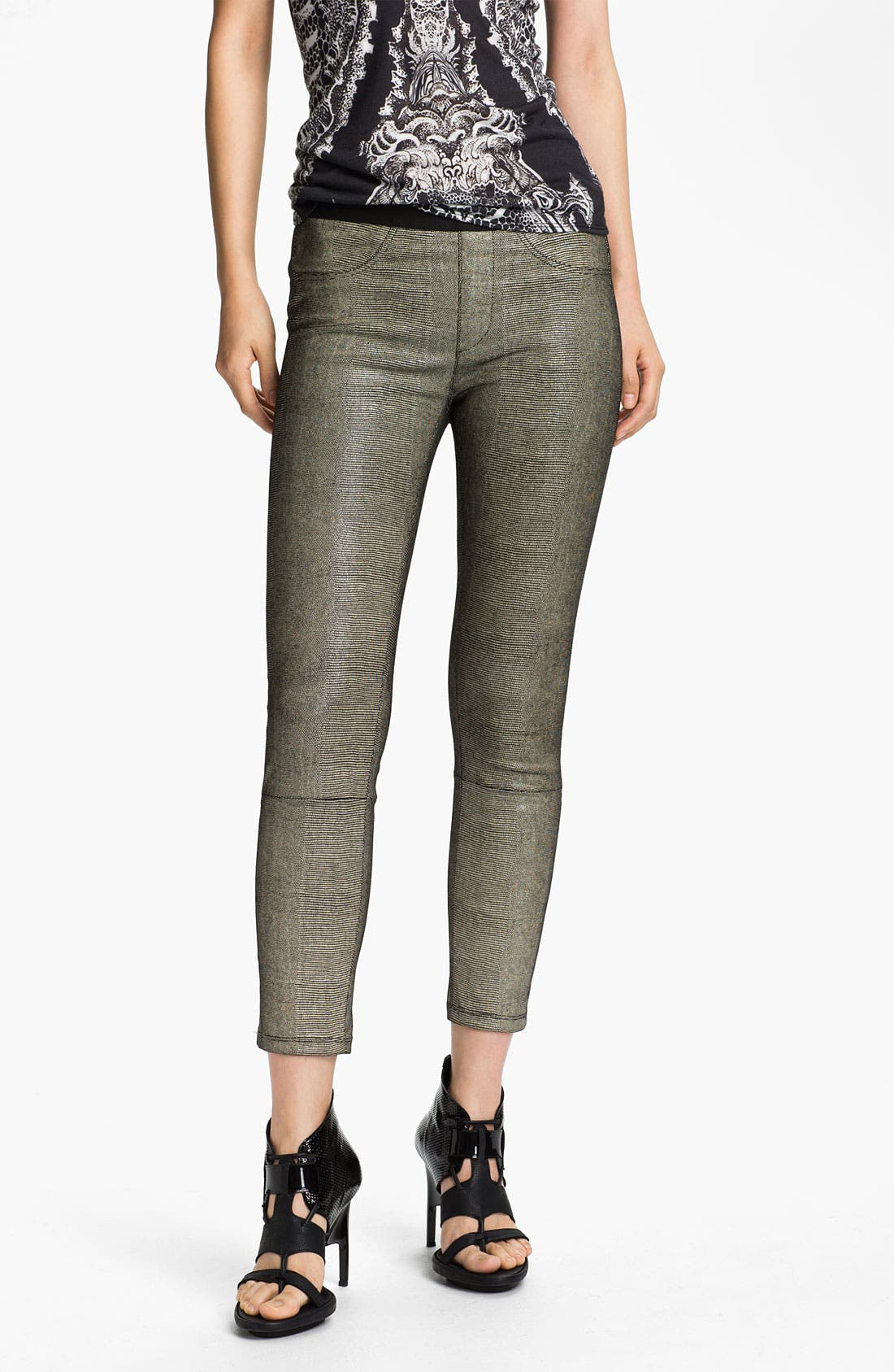 Alternate Image 1 Selected - Helmut Lang 'Rift' Stretch Leather Crop Leggings