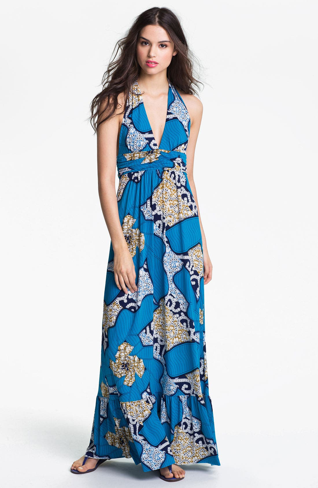 Print Halter Maxi Dress,                         Main,                         color, Blue Geo Print