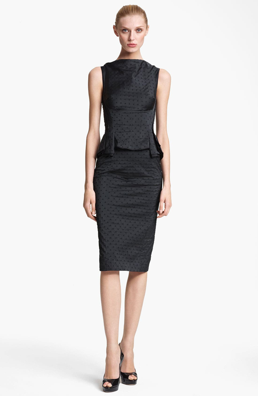 Alternate Image 1 Selected - Nina Ricci Jacquard Peplum Dress
