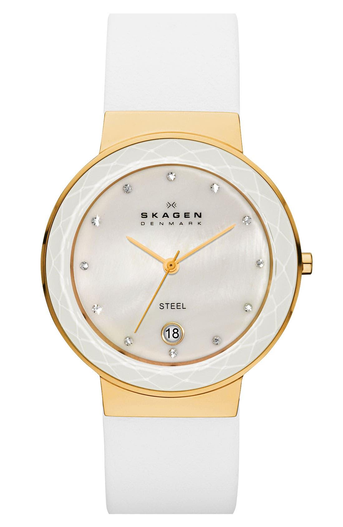 Main Image - Skagen 'Leonora' Large Faceted Glass Bezel Watch, 34mm