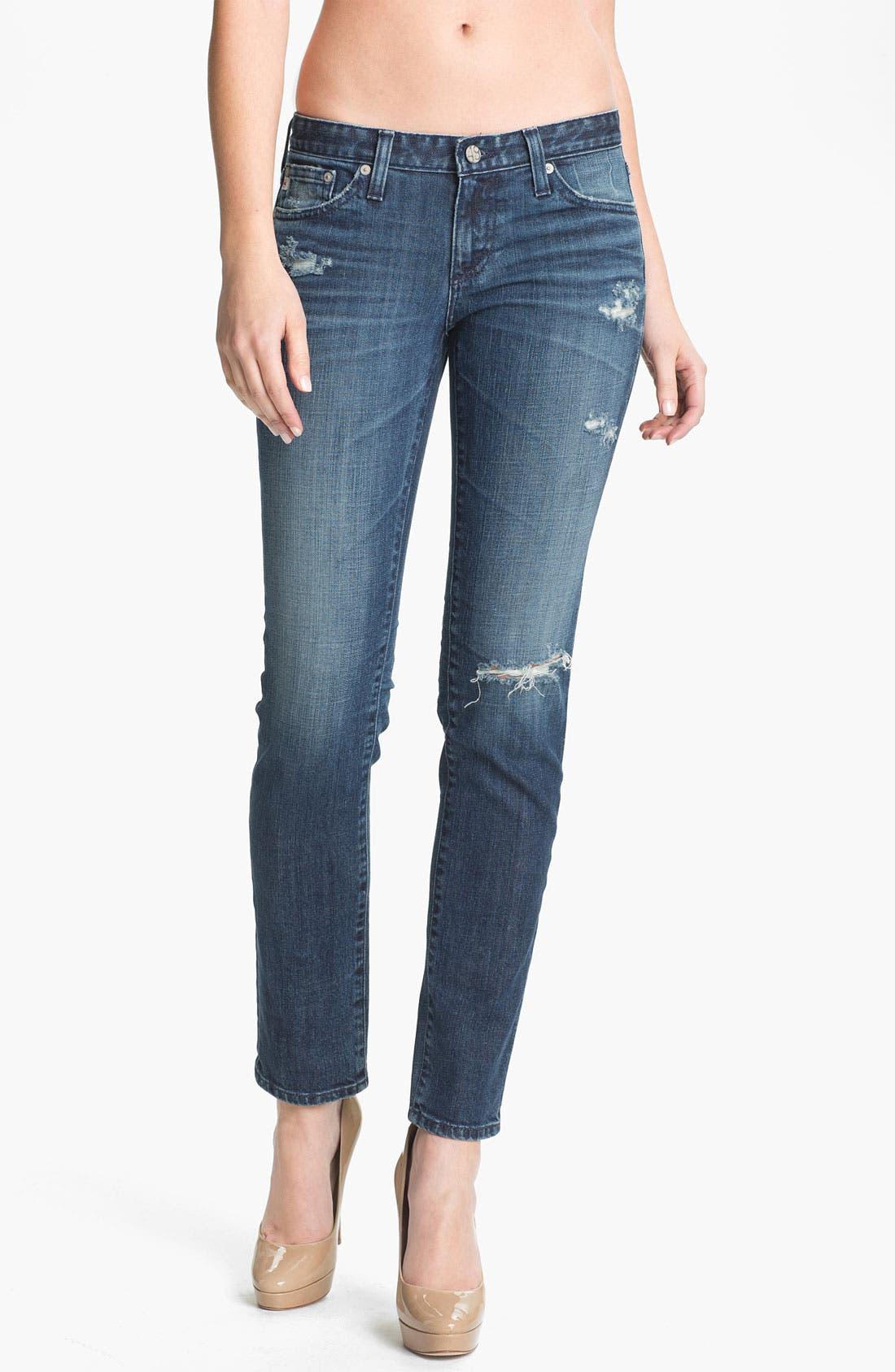 Alternate Image 1 Selected - AG Jeans 'The Stilt' Cigarette Leg Stretch Jeans (7 Year Destroy)