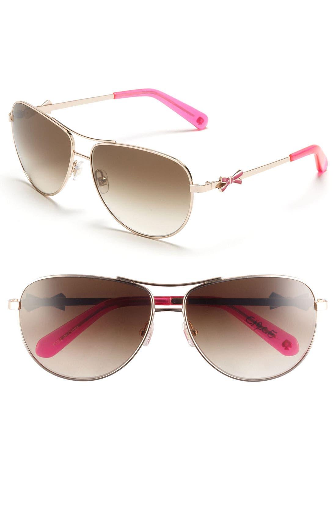 Alternate Image 1 Selected - kate spade new york 'circe' 59mm metal aviator sunglasses