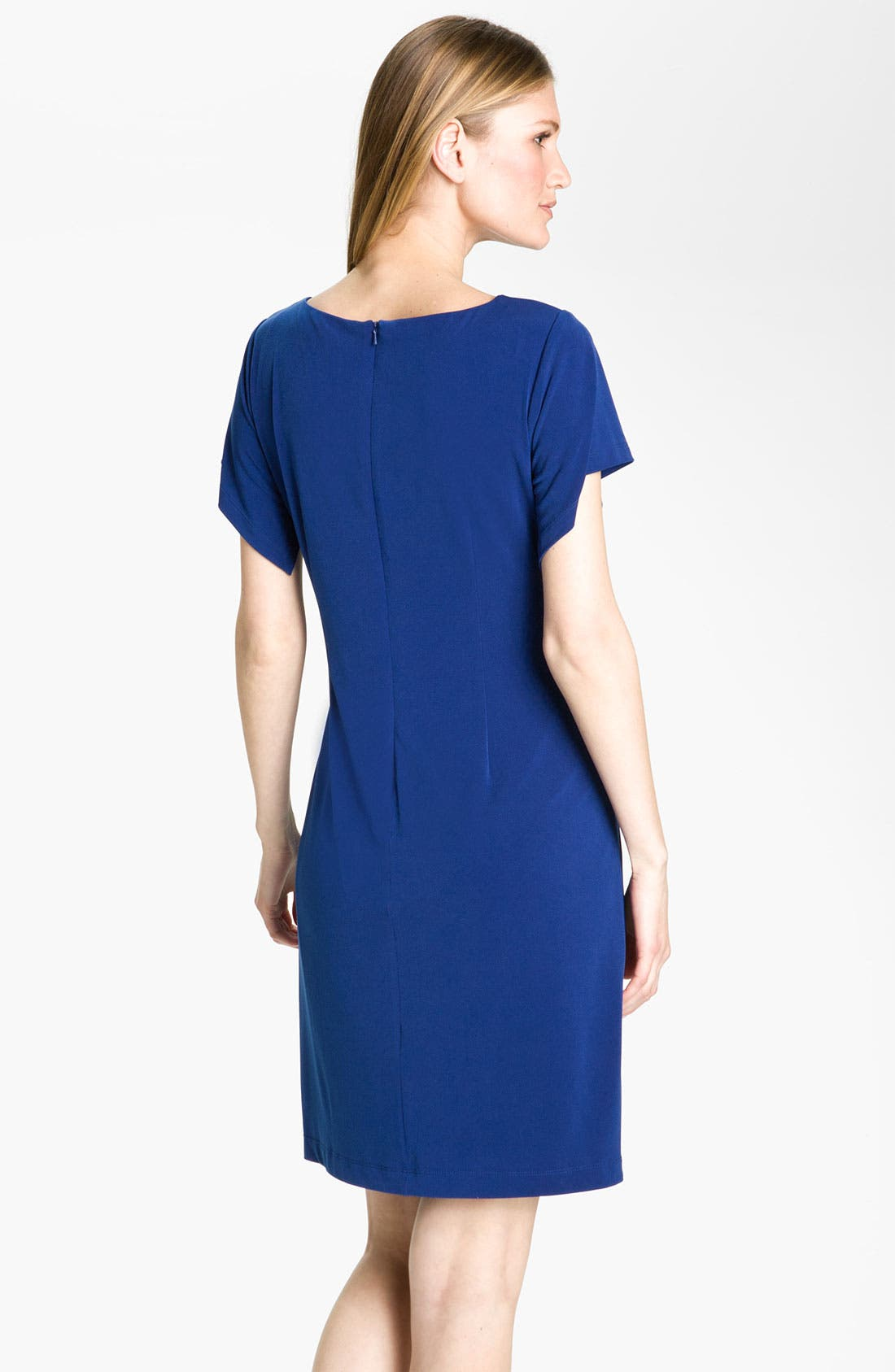 Alternate Image 2  - Donna Ricco Flutter Sleeve Jersey Dress (Petite)