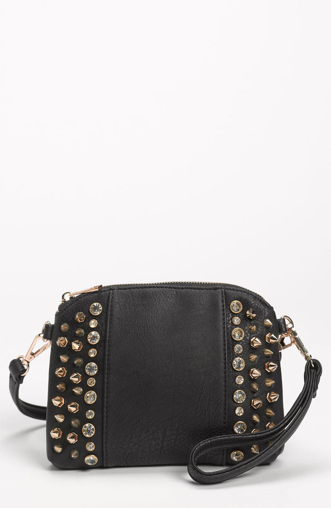 Main Image - Street Level Stud & Rhinestone Convertible Clutch