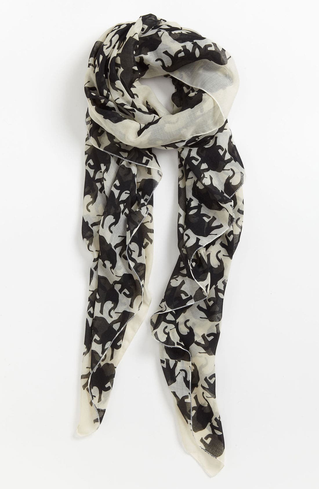 Couture Elephant Scarf,                         Main,                         color, Black/ White