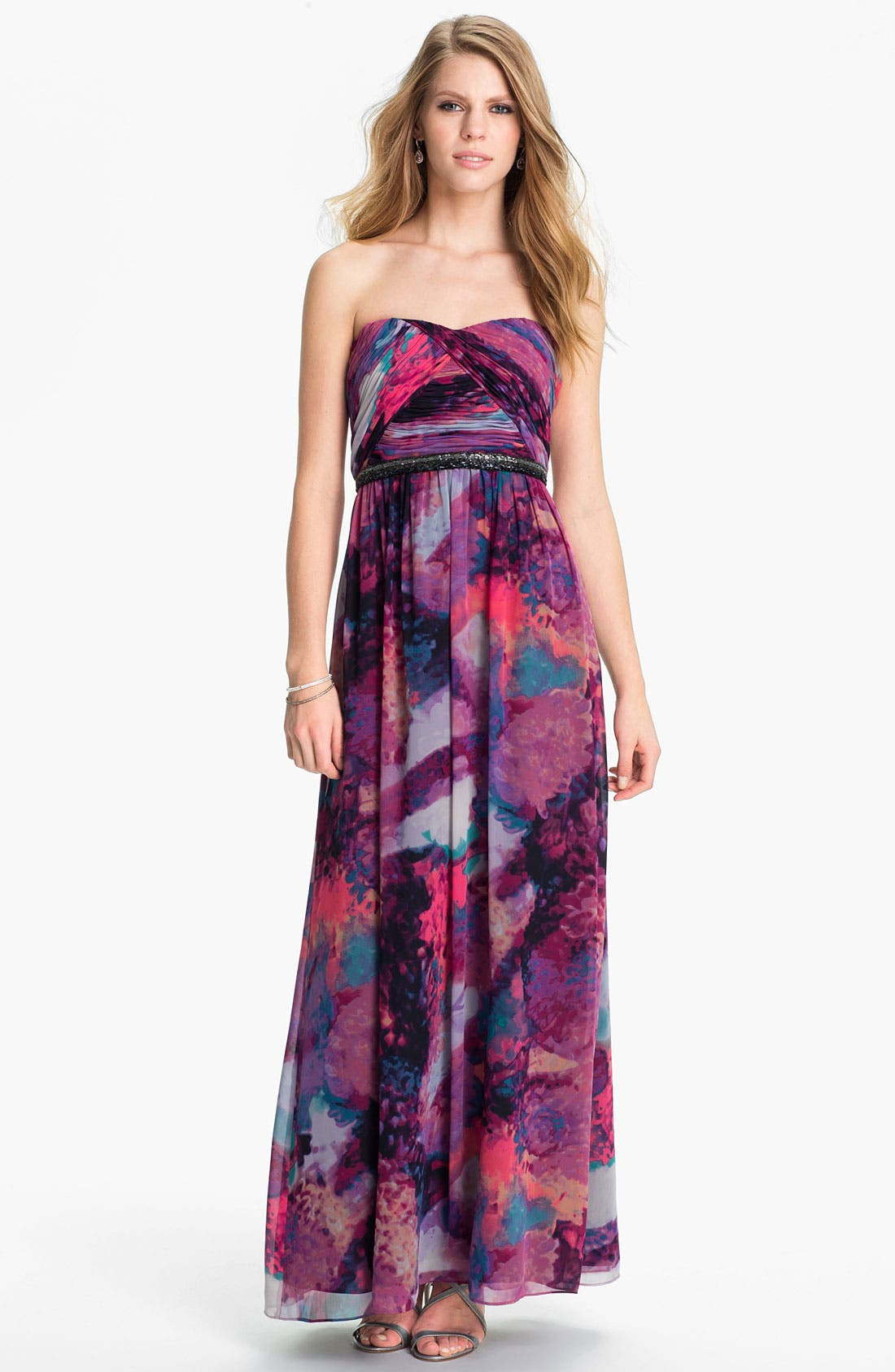 Alternate Image 1 Selected - Calvin Klein Embellished Print Chiffon Gown
