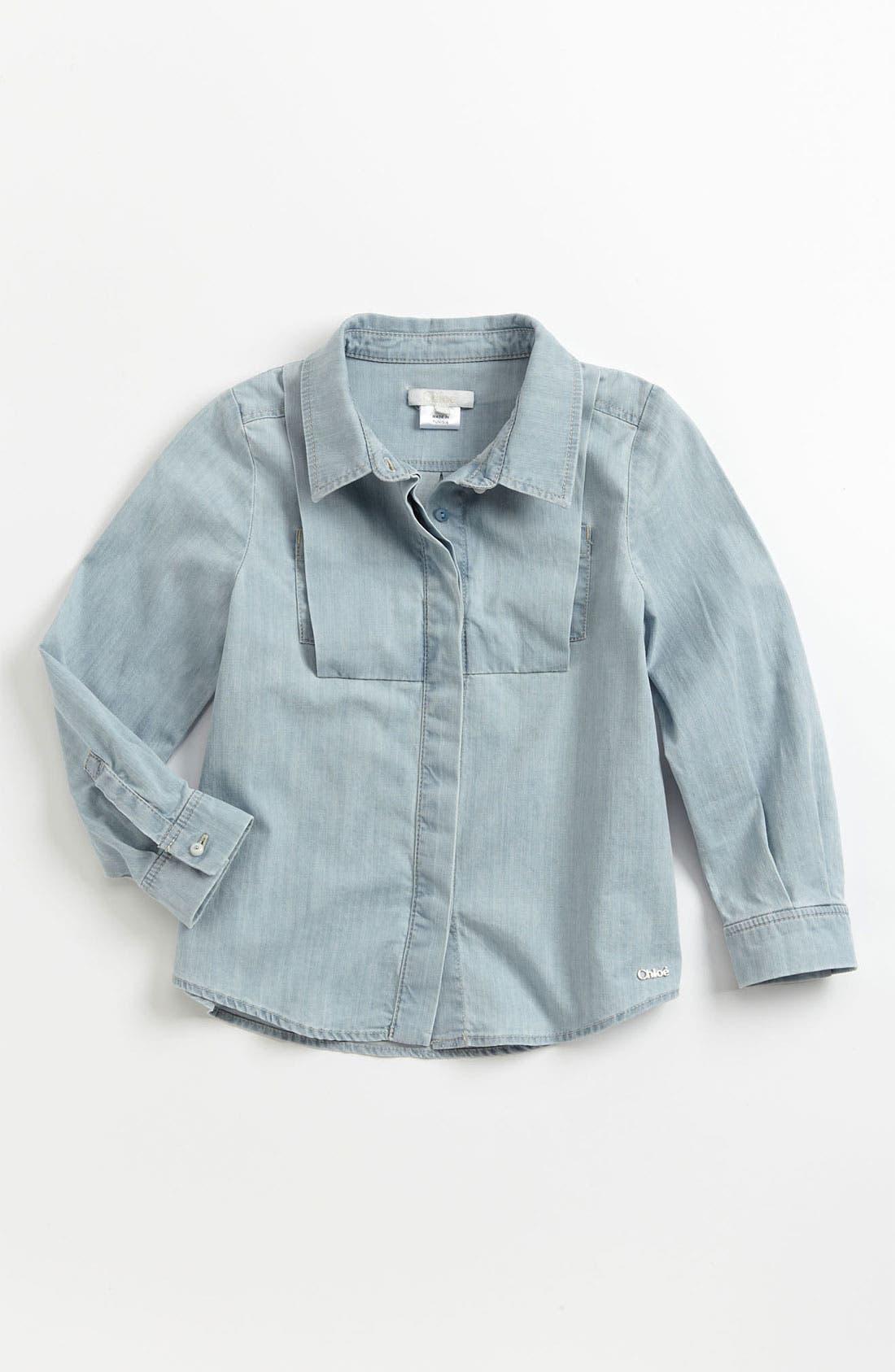 Alternate Image 1 Selected - Chloé Chambray Shirt (Little Girls & Big Girls)