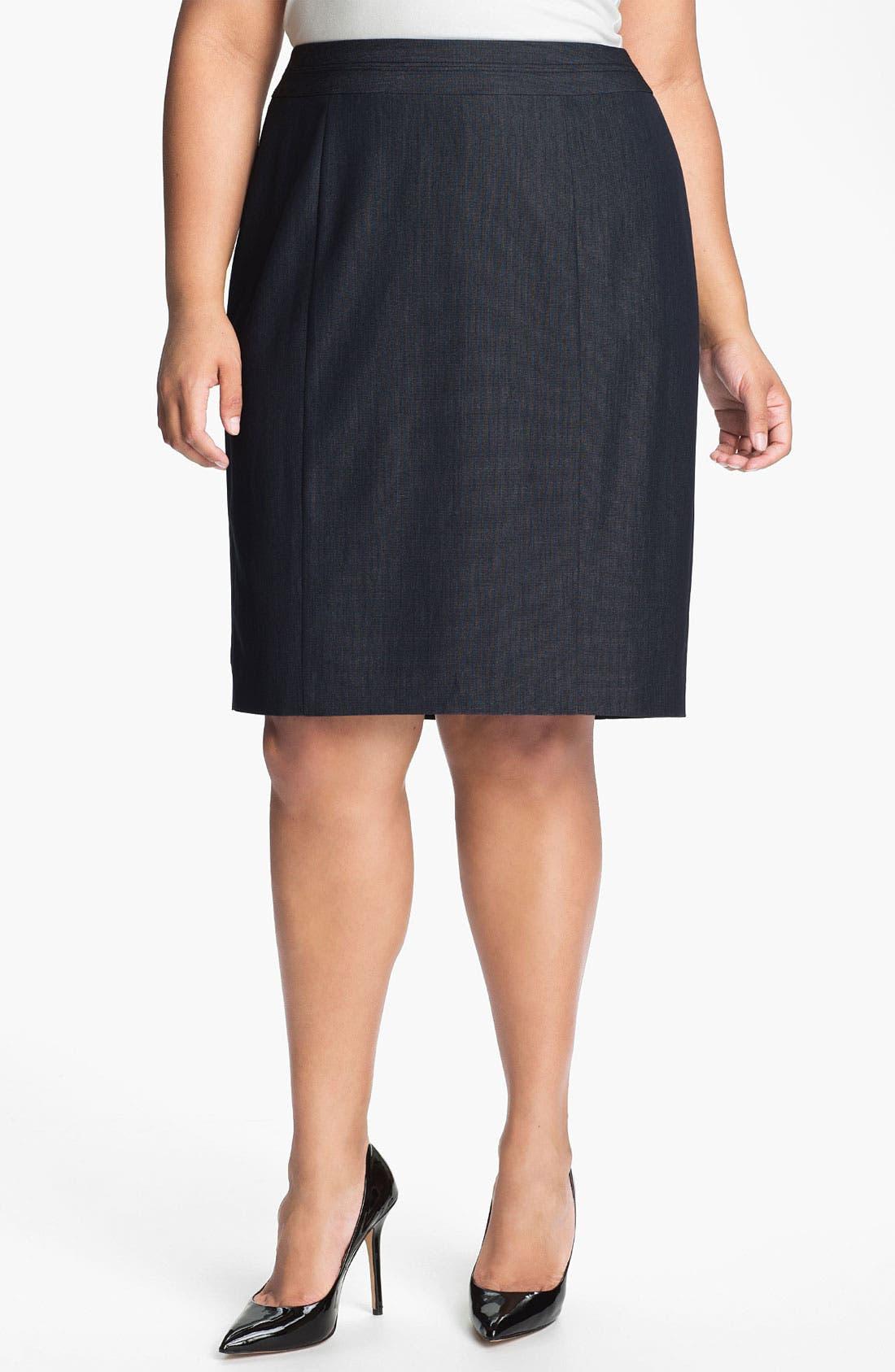 Main Image - Sejour Seamed Suit Skirt (Plus)