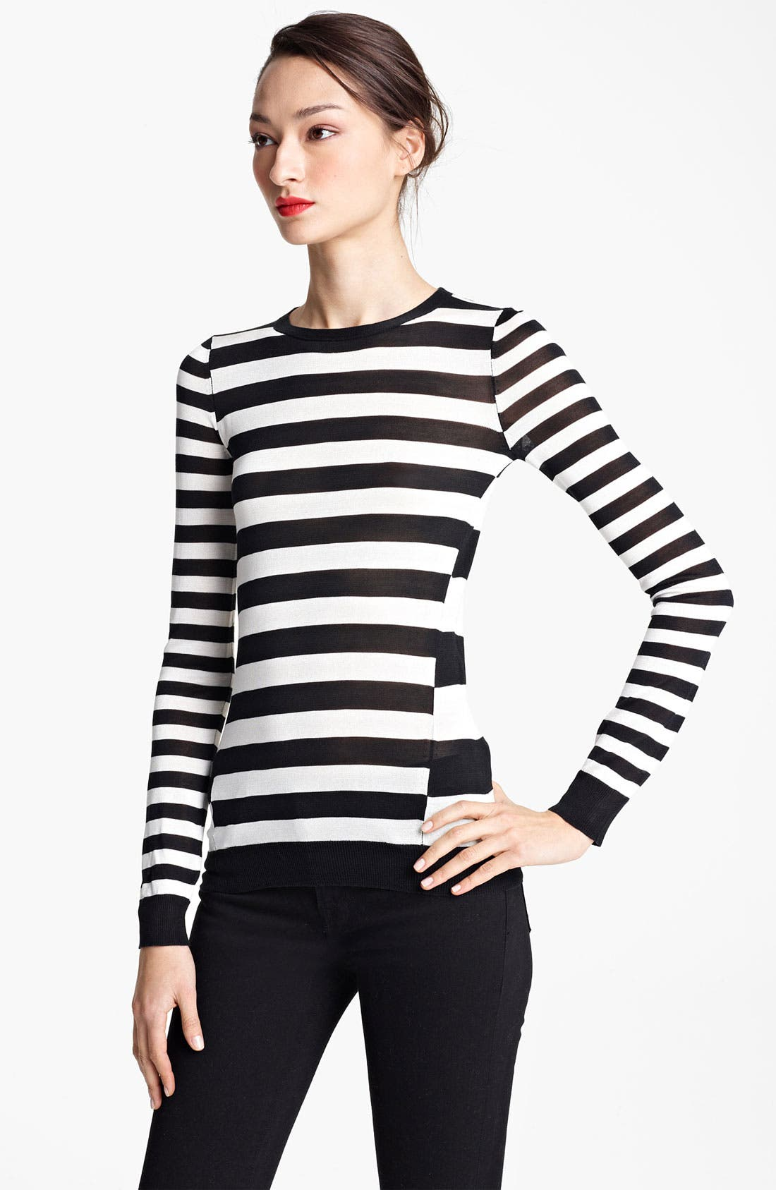 Alternate Image 1 Selected - Jason Wu Stripe Crewneck Silk Top