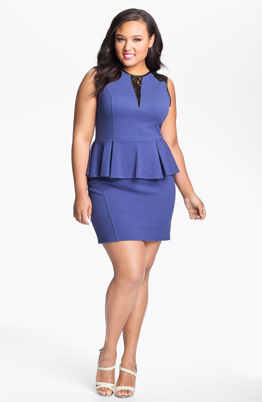 Main Image - ABS by Allen Schwartz Lace Inset Peplum Sheath Dress (Plus Size)