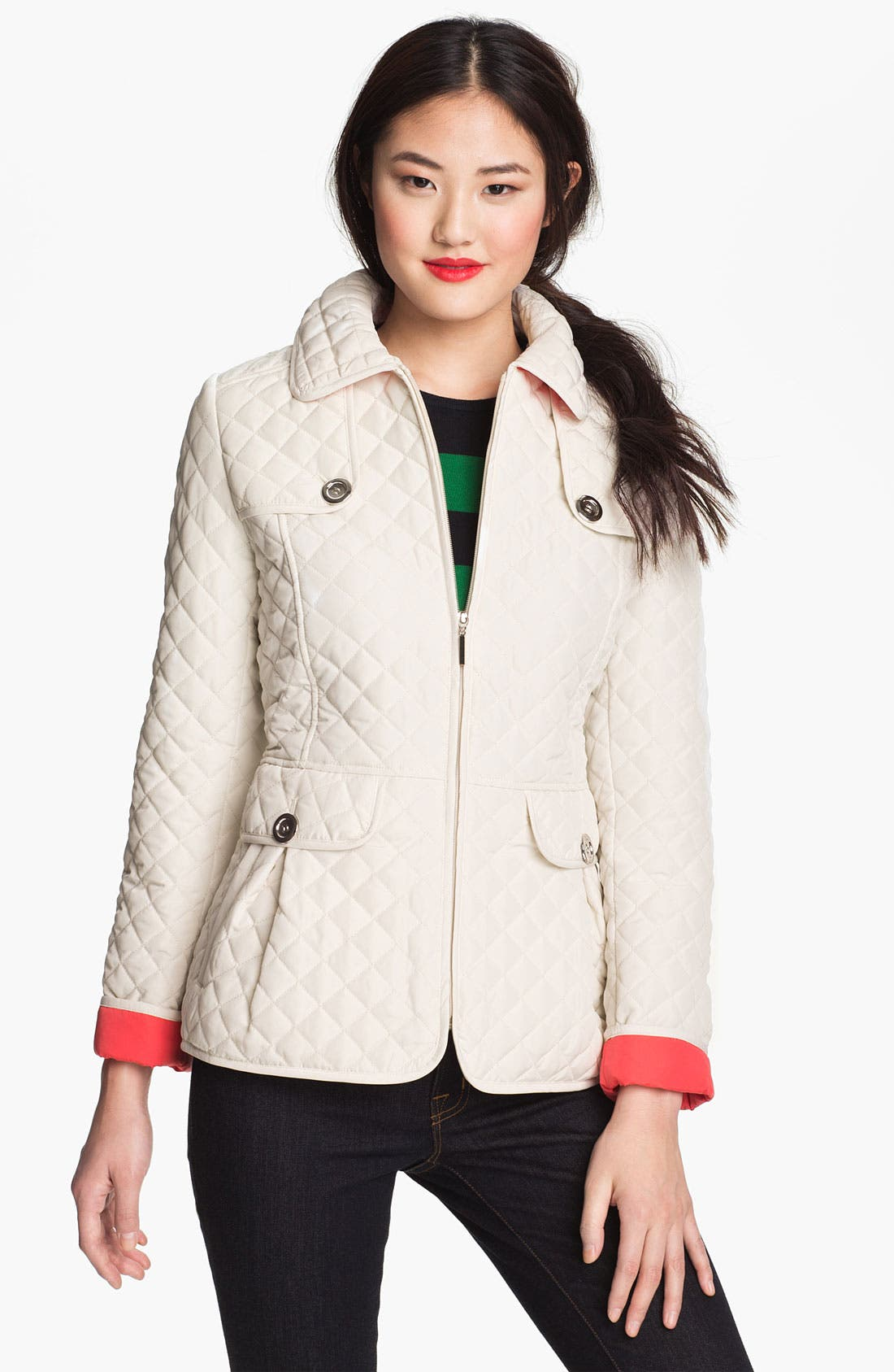 Main Image - Weatherproof® Contrast Cuff Quilted Jacket (Online Only)