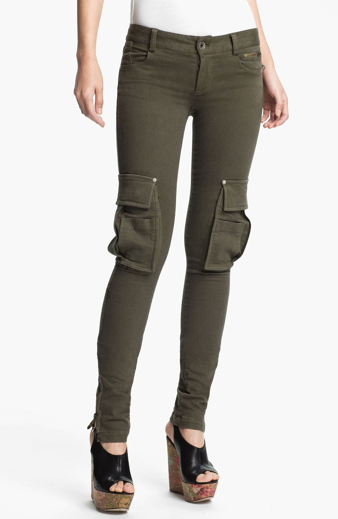 Alternate Image 1 Selected - Alice + Olivia Zip Detail Skinny Cargo Pants