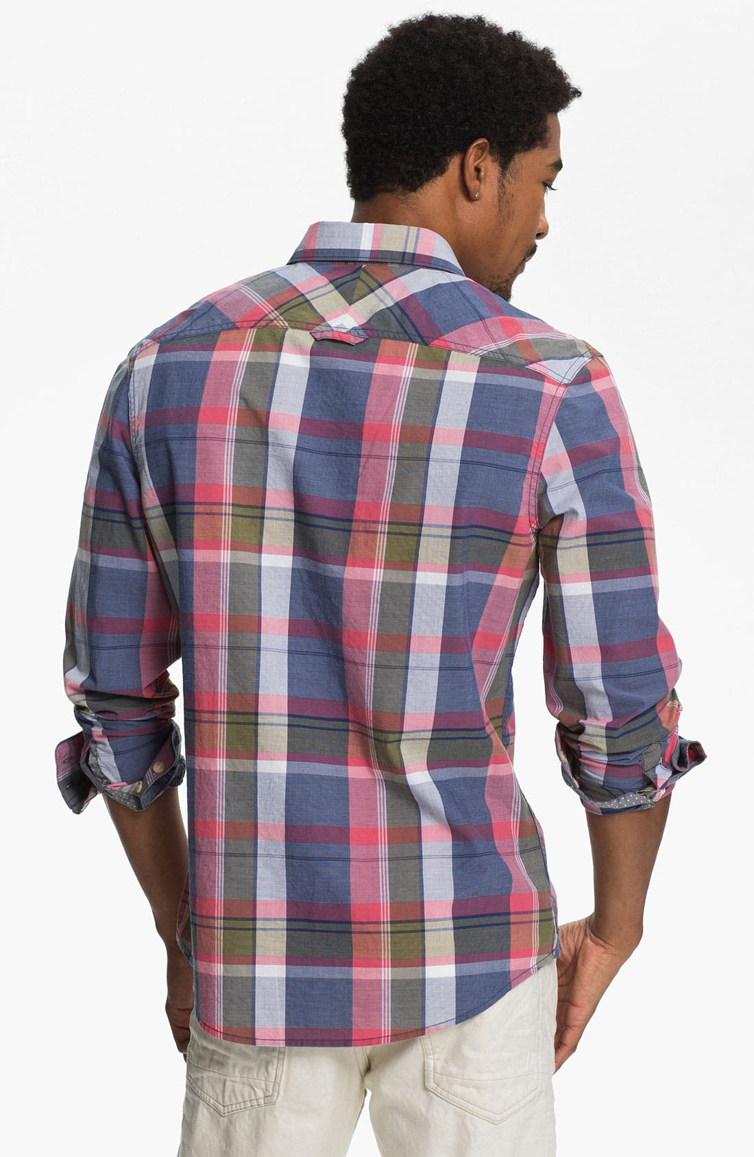 Alternate Image 2  - 1901 Washed Poplin Plaid Woven Shirt