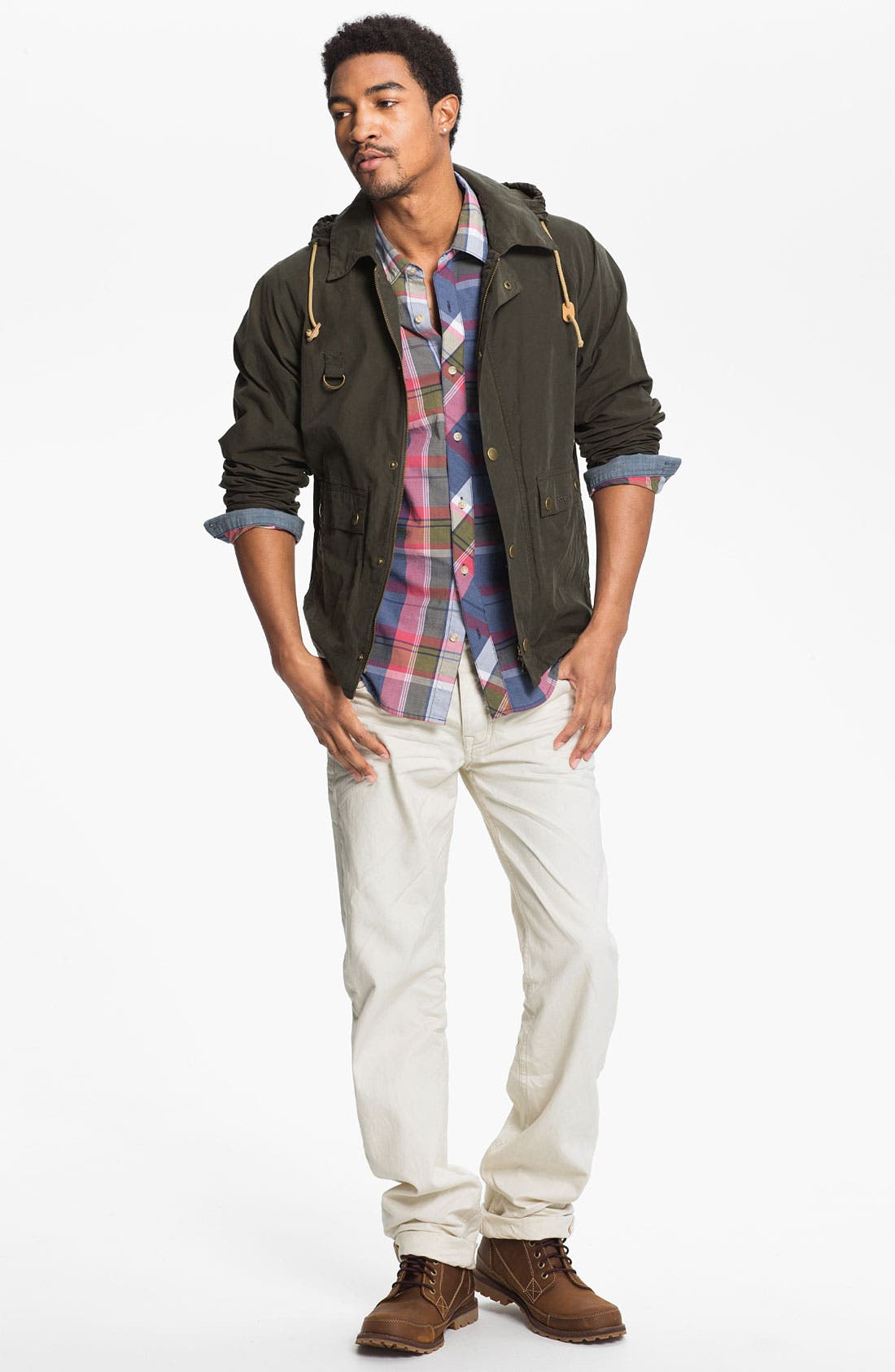 Main Image - Barbour Jacket, 1901 Woven Shirt & MARC MOTO by Andrew Marc Straight Leg Jeans