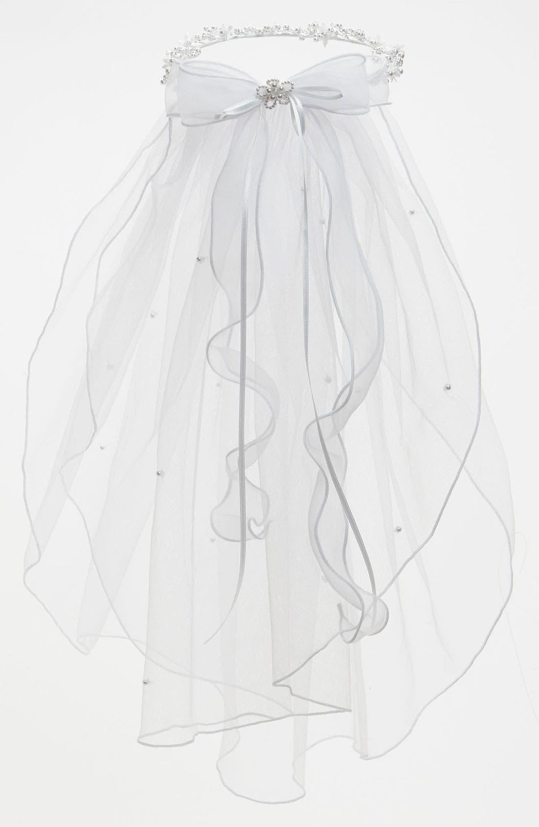 Alternate Image 1 Selected - Lauren Marie Beaded Wreath & Veil (Girls)