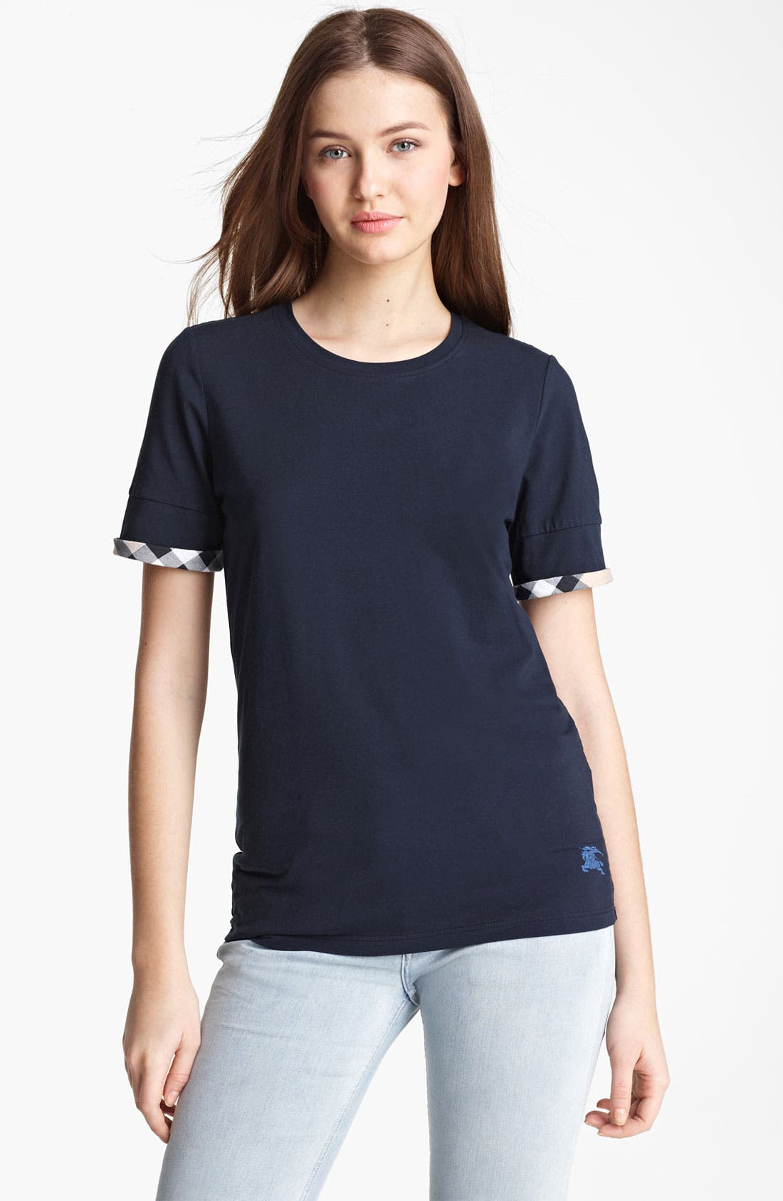 Main Image - Burberry Brit Check Cuff Short Sleeve Top