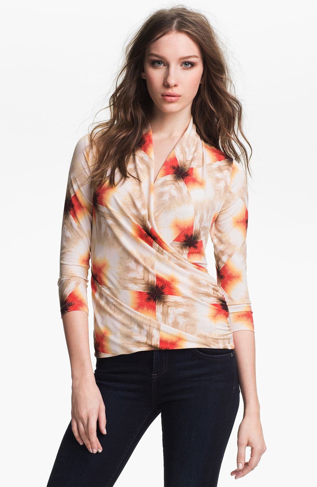 Main Image - Vince Camuto 'Feathered Geo' Faux Wrap Top