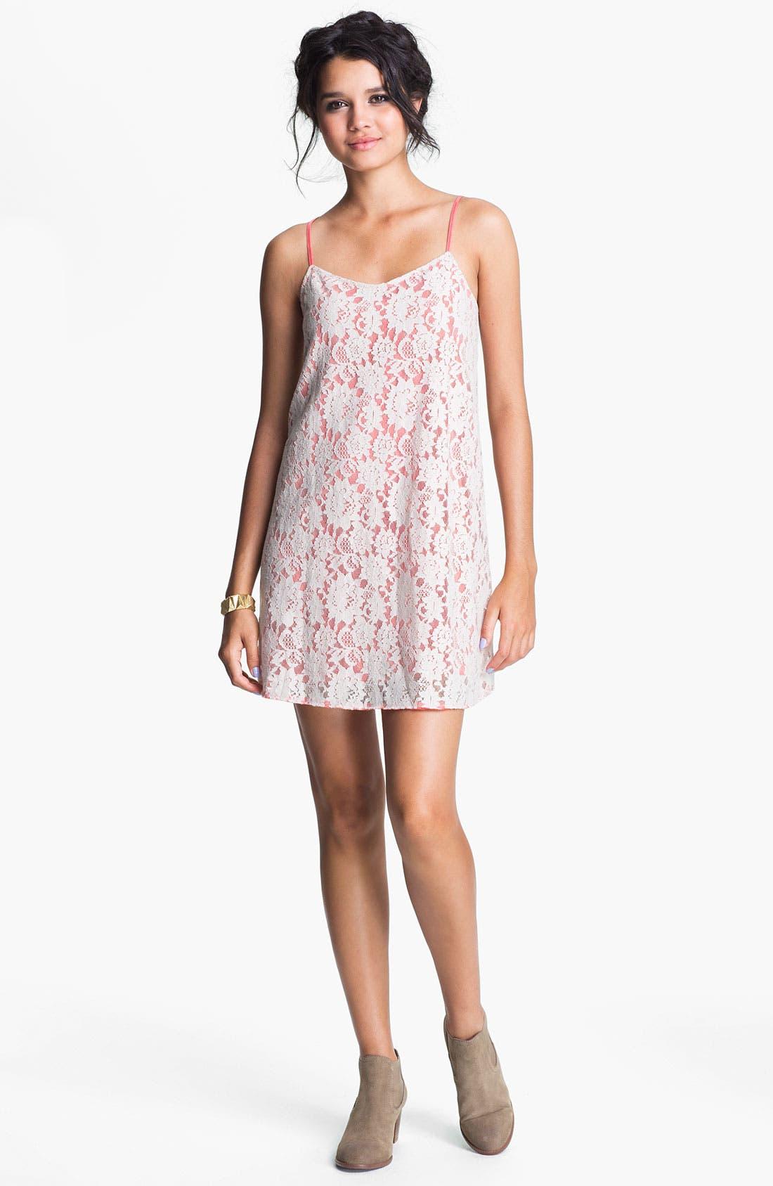 Main Image - Frenchi® 'Fairytale' Lace Slip Dress (Juniors)