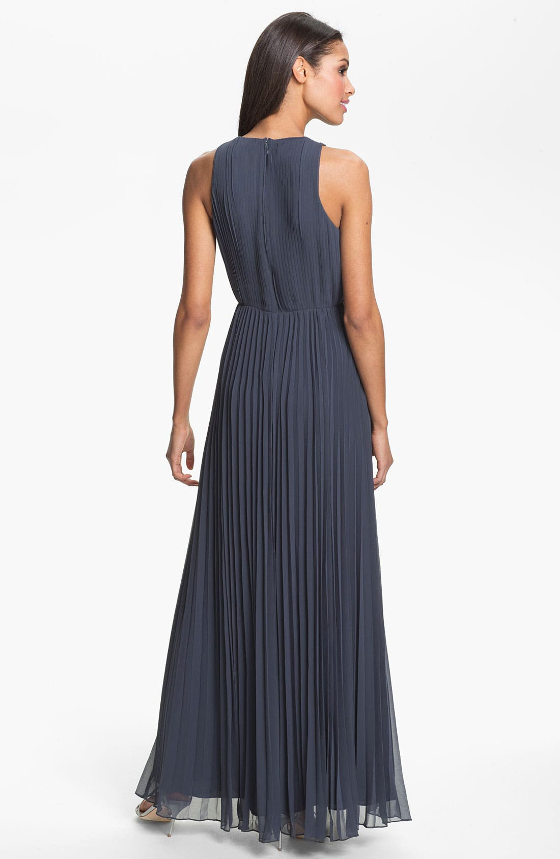 Alternate Image 2  - Halston Heritage Pleated Chiffon Gown