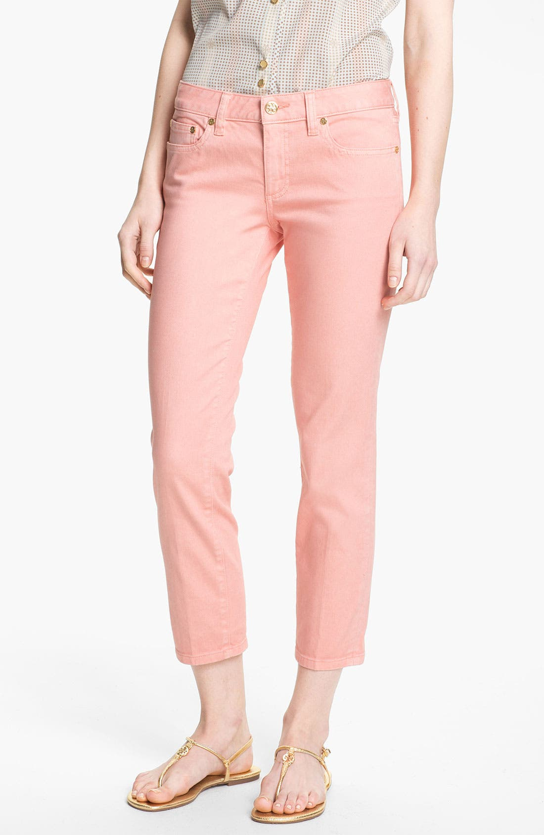 Main Image - Tory Burch 'Alexa' Crop Skinny Stretch Jeans (Light Coral)