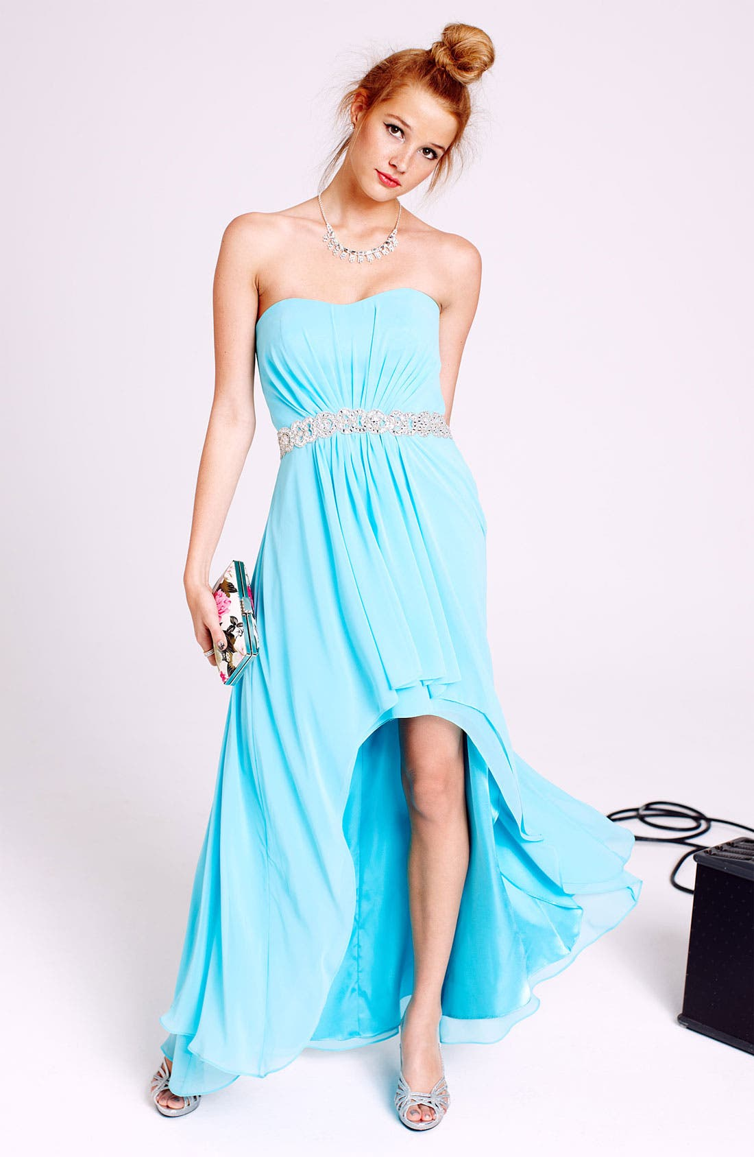 Alternate Image 4  - Xscape Embellished Waist Chiffon Gown (Online Only)