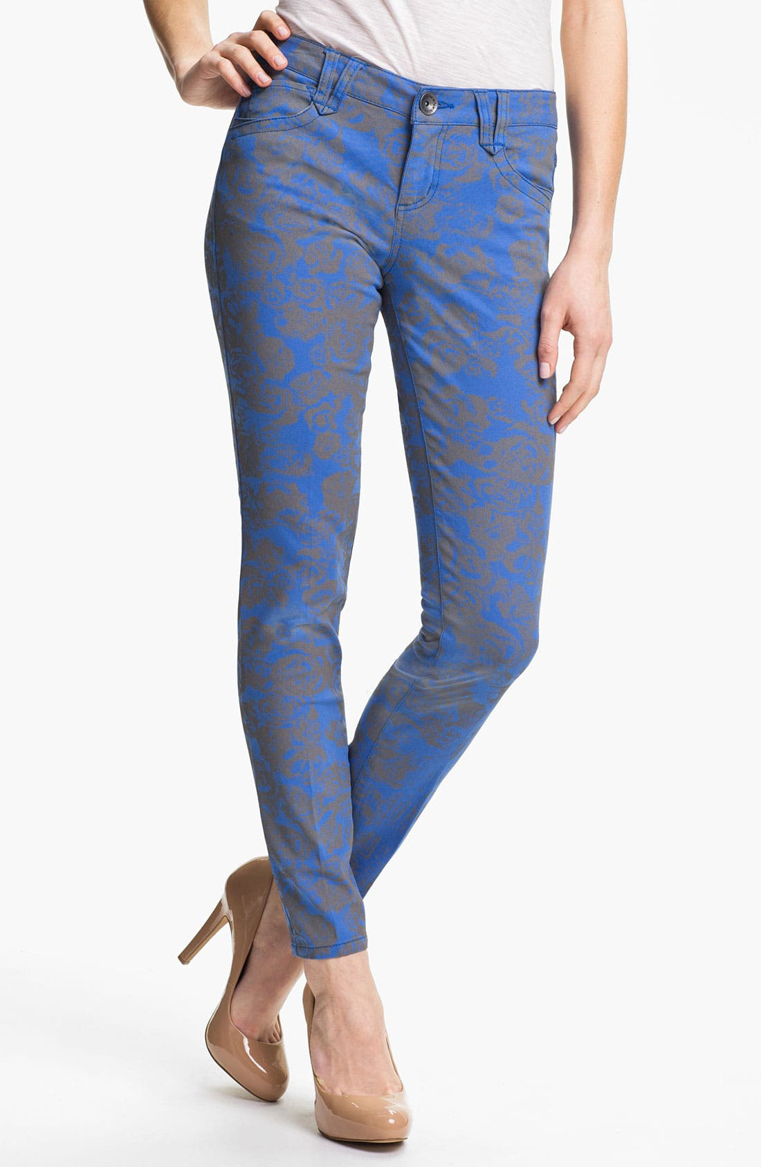 Main Image - Wit & Wisdom Floral Print Skinny Jeans (Indigo) (Nordstrom Exclusive)