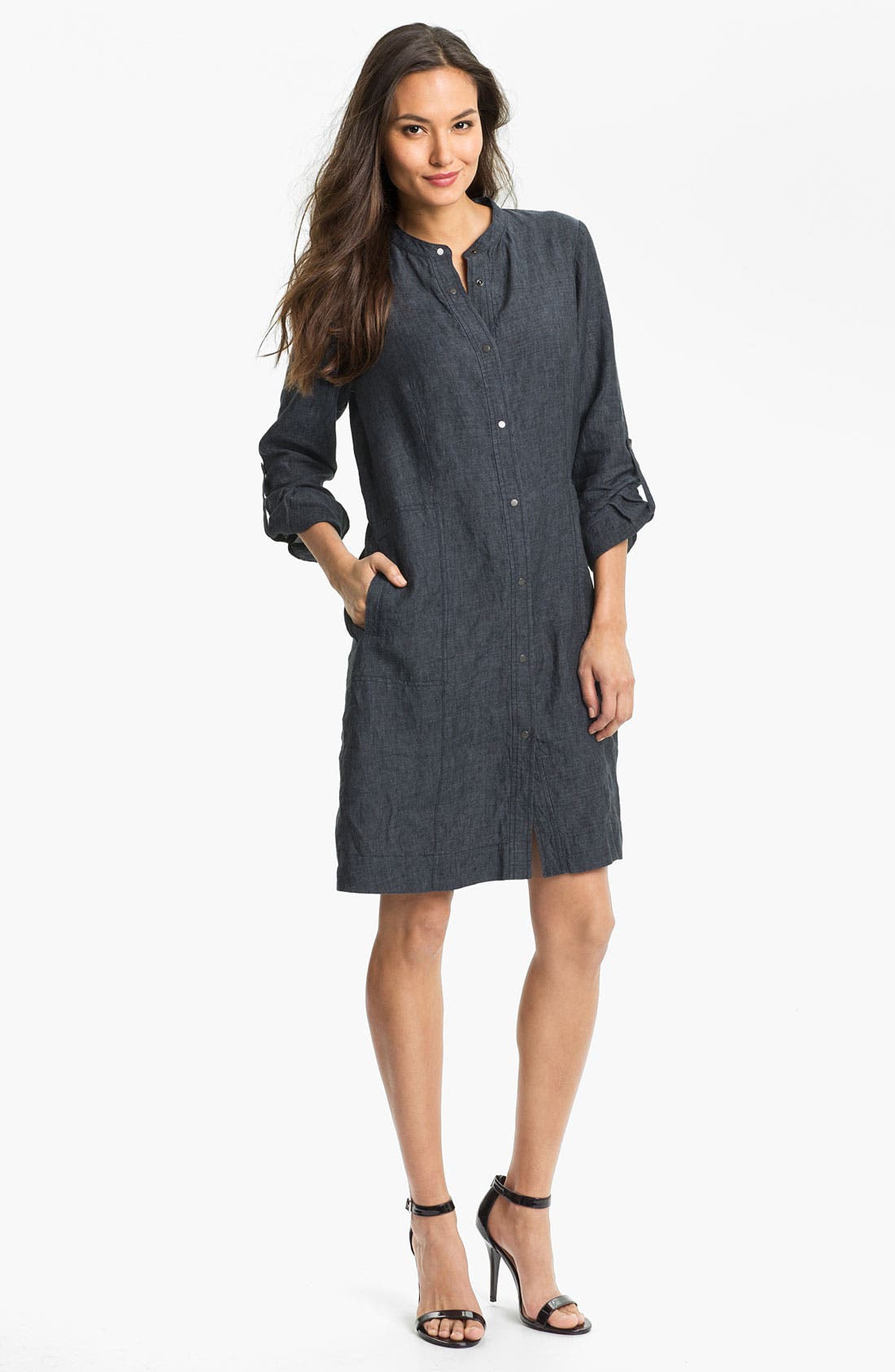 Banded Collar Shirtdress,                             Main thumbnail 1, color,                             Denim