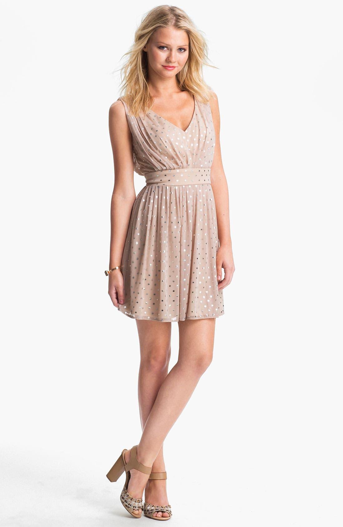 Main Image - As U Wish Foil Dot Party Dress (Juniors)