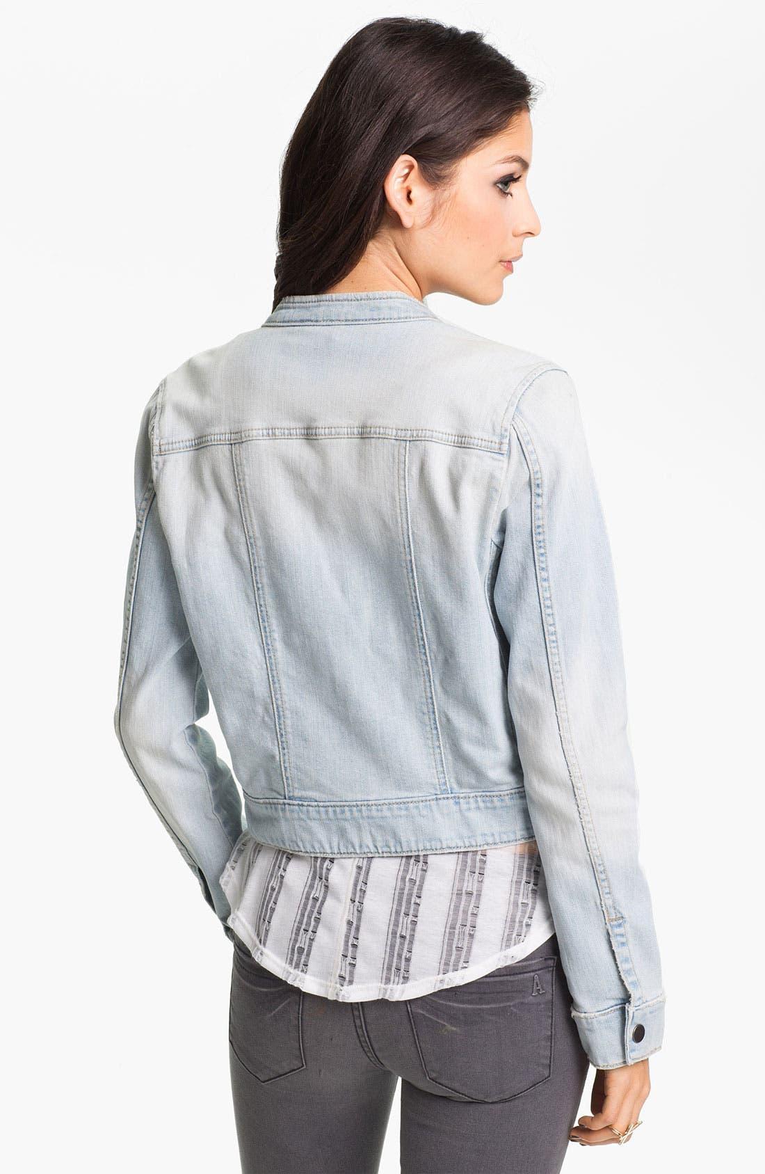 Alternate Image 2  - Rubbish® Denim Moto Jacket (Juniors)