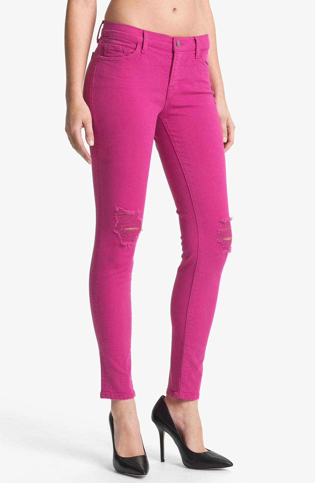 Alternate Image 1 Selected - J Brand Distressed Skinny Leg Jeans (Magenta)