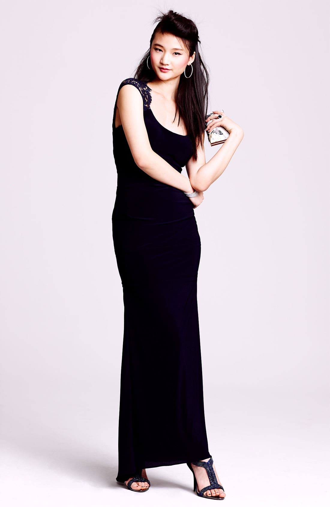 Alternate Image 4  - Xscape Lace Cap Sleeve Jersey Gown