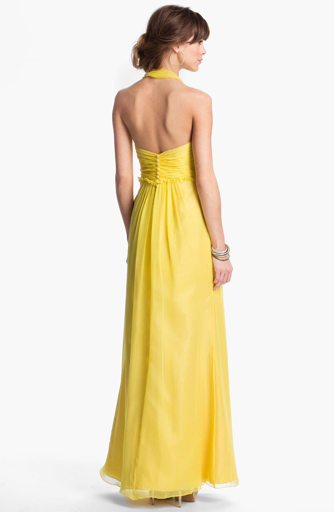 Alternate Image 2  - JS Boutique Ruffled Silk Chiffon Halter Gown