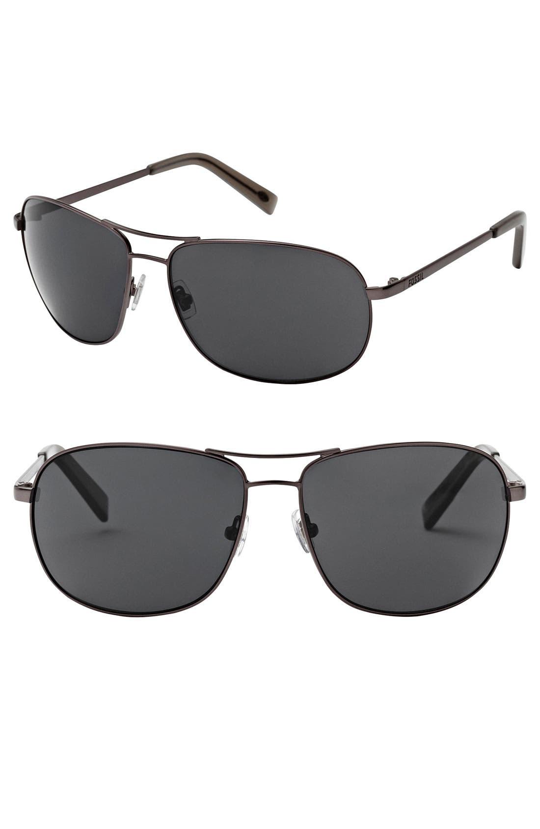 Alternate Image 1 Selected - Fossil 'Dylan' 62mm Aviator Sunglasses